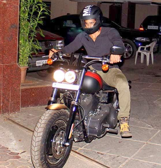 Sidharth Malhotra Dashing Look With Bike At Outside Of Karan Johar's House