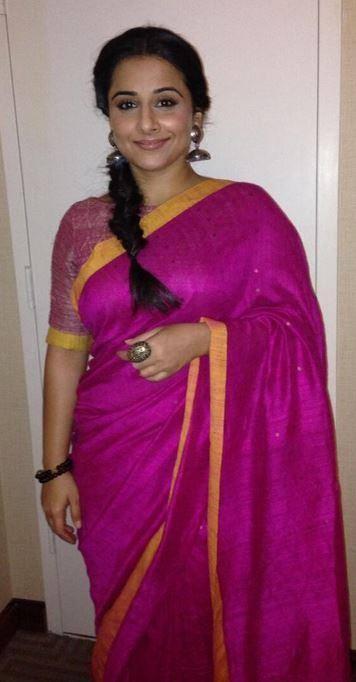 Vidya Balan Trendy Look In Purple Saree At The IIFA Press Conference 2014