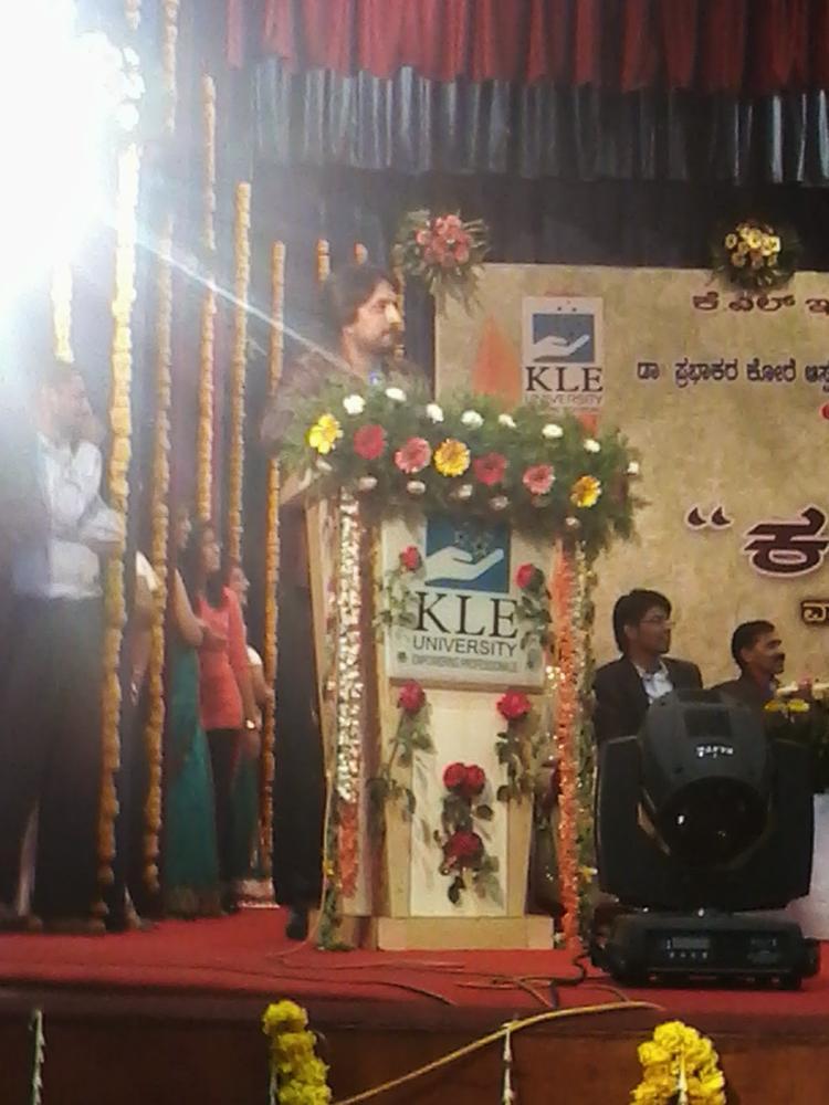Kichha Sudeep Snapped At Belgaum To Attend JNMC Kannada Balaga Annual Function
