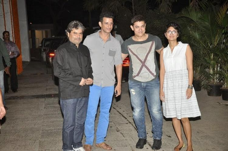 Vishal,Sharman And Aamir With Wife Kiran Clicked At Kangana's House Warming Bash And Queen Movie Success Party