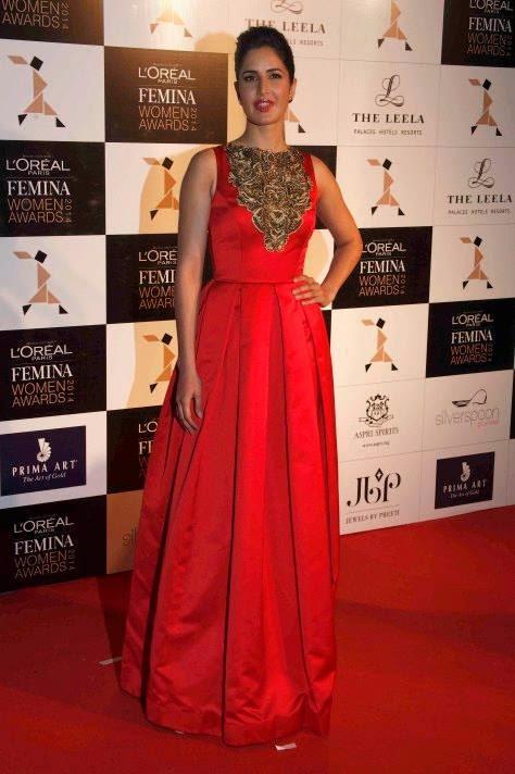 Katrina Kaif Sizzles In Red Gown At The L'Oreal Paris Femina Women Awards 2014