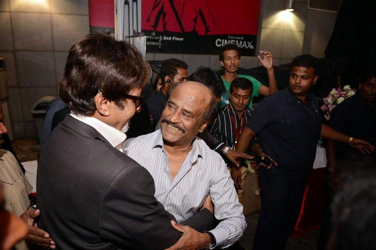 Big B And Rajinikanth Hugs At The Launch Of The Film Kochadaiiyan Of Rajni At Mumbai