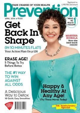 Manisha Koirala Smiling Pose On The Cover Of Prevention April 2014 Edition