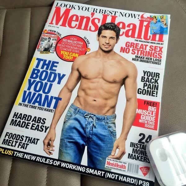 Sidharth Malhotra Hot Body Show Sexy Look On The Cover Of Men'sHealth April 2014 Edition