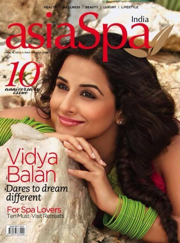 Smiling Vidya Balan Trendy Look On The Cover Of asiaSpa India Magazine April 2014 Edition