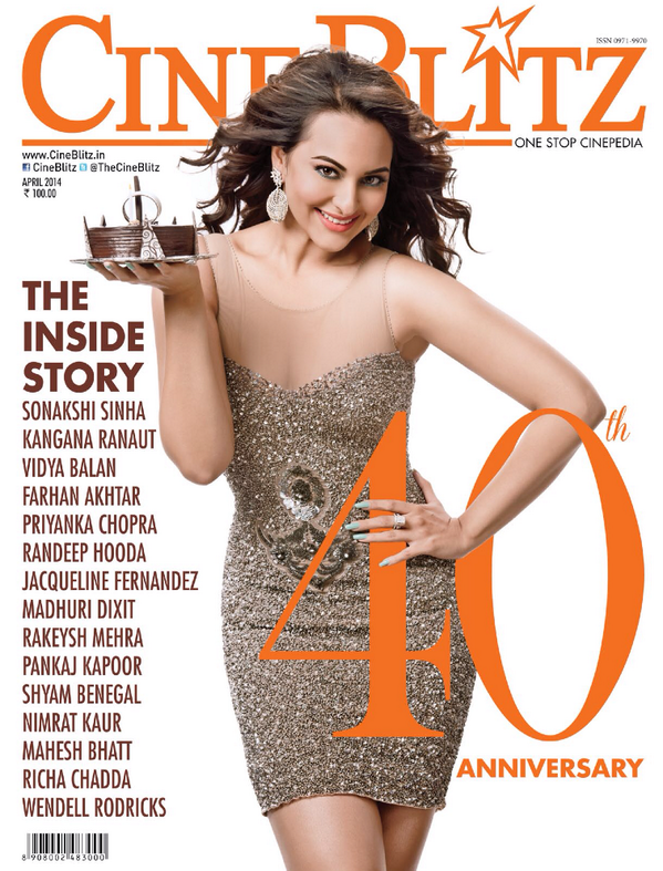 Sonakshi Sinha Charming Radiant Look On The Cover Of CineBlitz's 40 Anniversary Issue April 2014