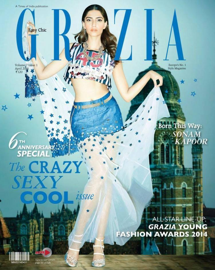 Sonam Kapoor Fashionable Look On The Cover Of Grazia's 6th Anniversary Issue April 2014