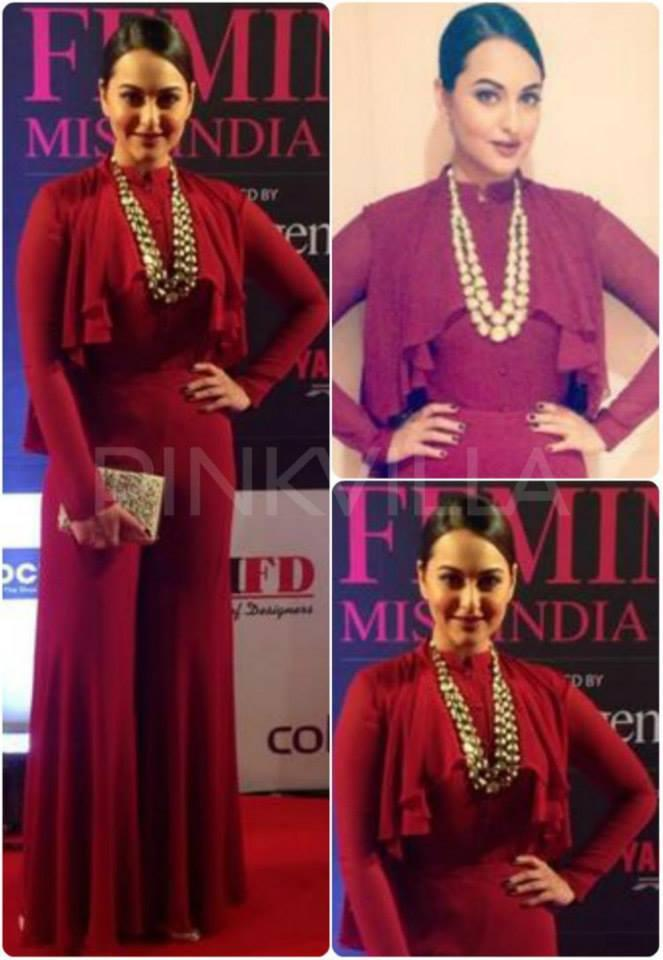 Sonakshi Sinha Gorgeous Look In Red Dress At The Finale Of Fbb Femina Miss India 2014