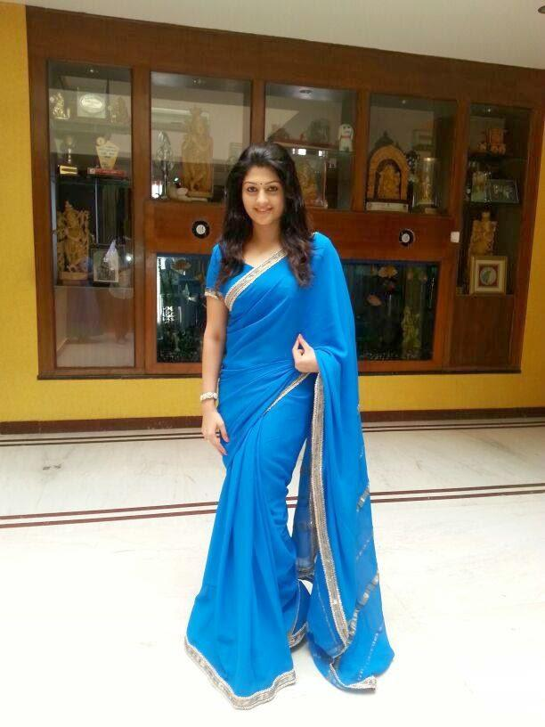 Radhika Kumaraswamy Stunning Look In Blue Saree Shoot For Her Next Project Rudra Thandava