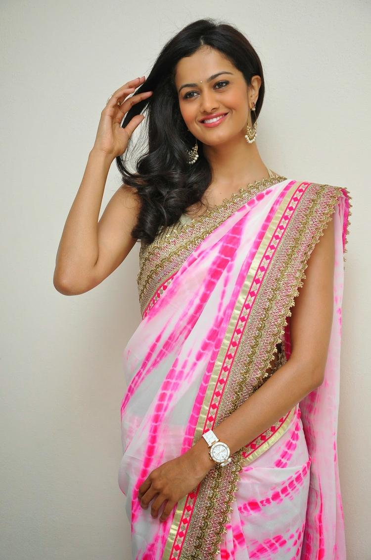 Shubra Aiyappa In Pink Saree Glamour Look During The Prathinidhi Movie Platinum Disc Function