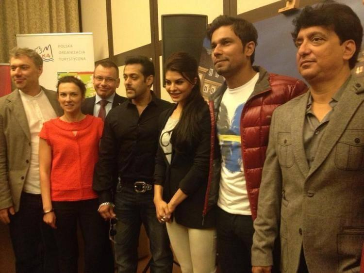 Kick Cast Pose For Photo Shoot At Press Conference Of Kick In Poland