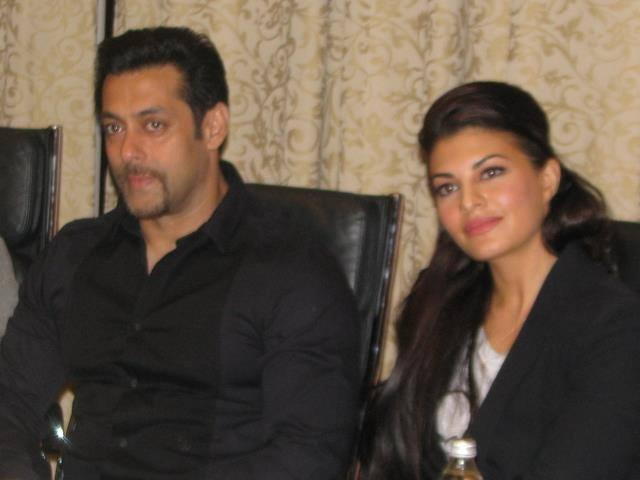 Salman And Jacqueline Listening Poland Media During Press Conference Of Kick
