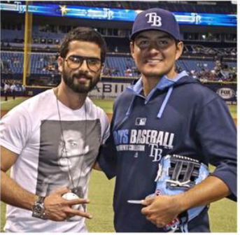 Shahid Kapoor Fashionable Look During Rays Baseballs Ceremonial First Pitch At Tampa