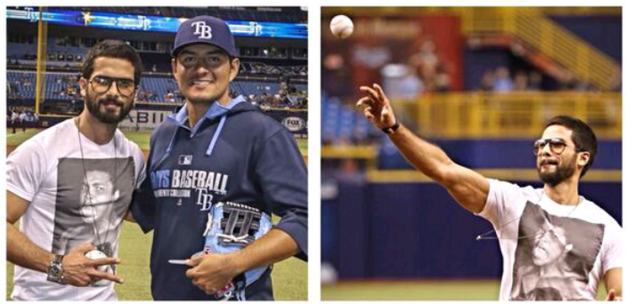 Shahid Kapoor Present During Rays Baseballs Ceremonial First Pitch At Tampa
