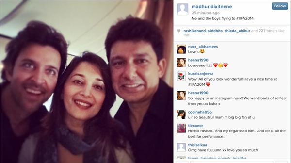 Hrithik,Madhuri With Her Hubby Sriram Nice Photo From IIFA 2014 Tampa Bay, USA