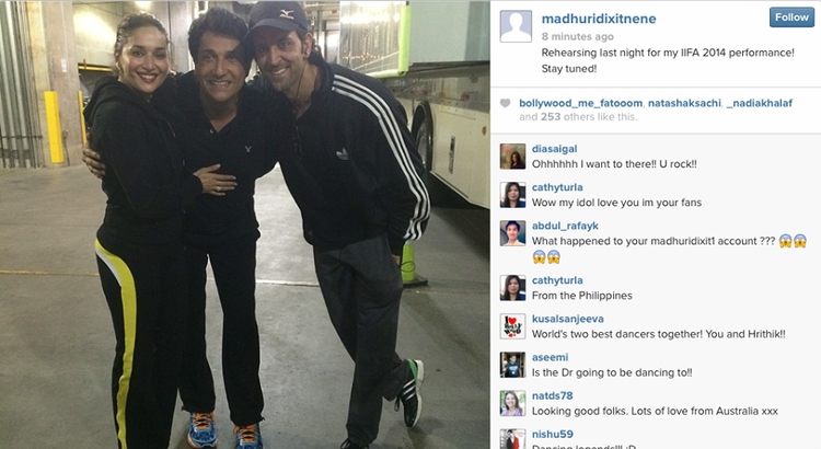 Madhuri,Shiamak And Hrithik Posed During Rehearsing For IIFA 2014 Performance At IIFA 2014 Tampa Bay, USA