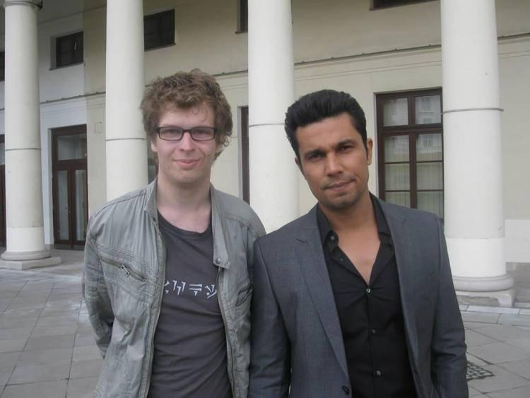 Randeep Hooda Strikes A Pose During The Sets Of Kick In Poland With A Fan