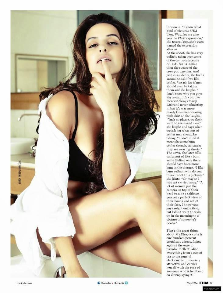 Neha Dhupia Bold Pose Still On The Cover Of FHM Magazine India May 2014