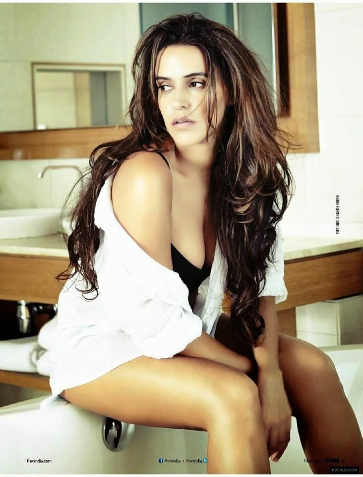 Neha Dhupia Latest Sexy Look Photo Shoot For FHM Magazine India May 2014