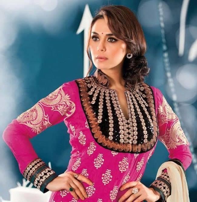 Preity Zinta Hot Look Photo Shoot In Majenta Color Beautiful Designed Salwar Kameez