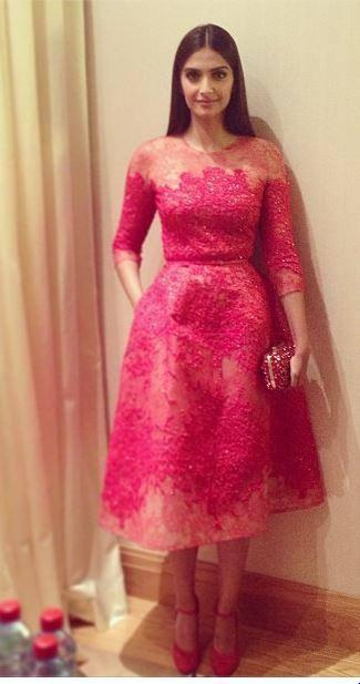 Sonam Kapoor Elegant Look In Elie Saab Pink Lace Dress During The Opening Gala Dinner At Cannes 2013