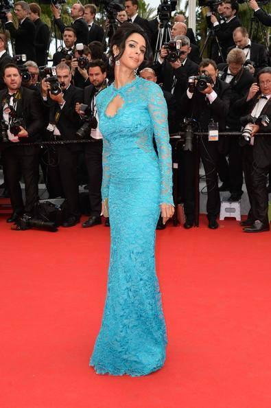 Mallika Sherawat Strikes A Pose At The Red Carpet Of The 67th Cannes Film Festival