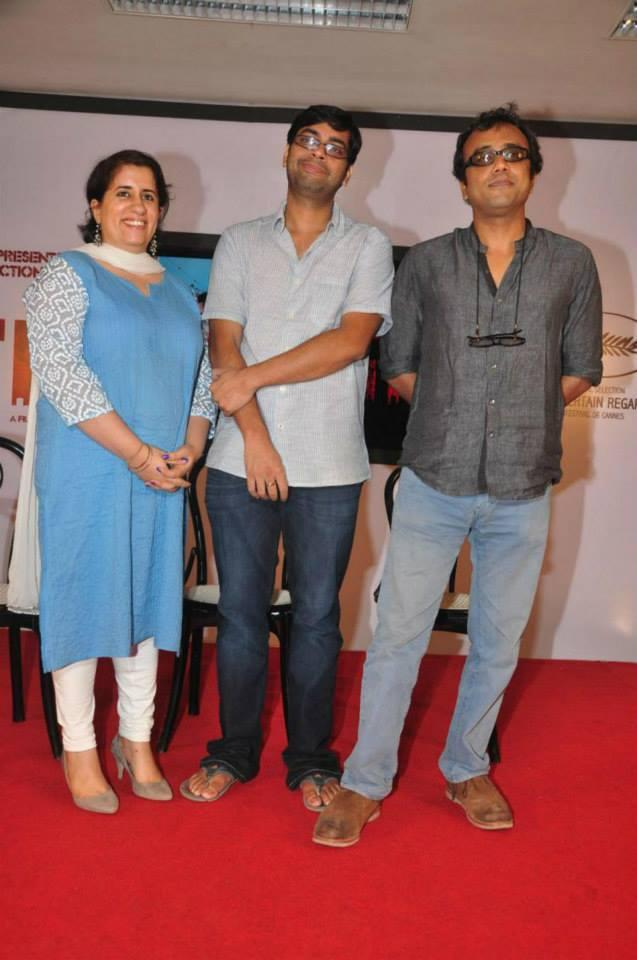 Guneet,Kanu And Dibakar Clicked On Red Carpet At The Titli Movie Trailer Launch Event