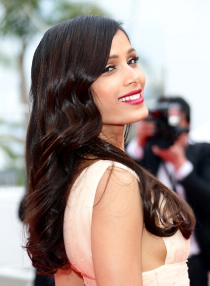 Freida Pinto Attractive Look At Cannes 2014 During The Premiere Of Saint Laurent