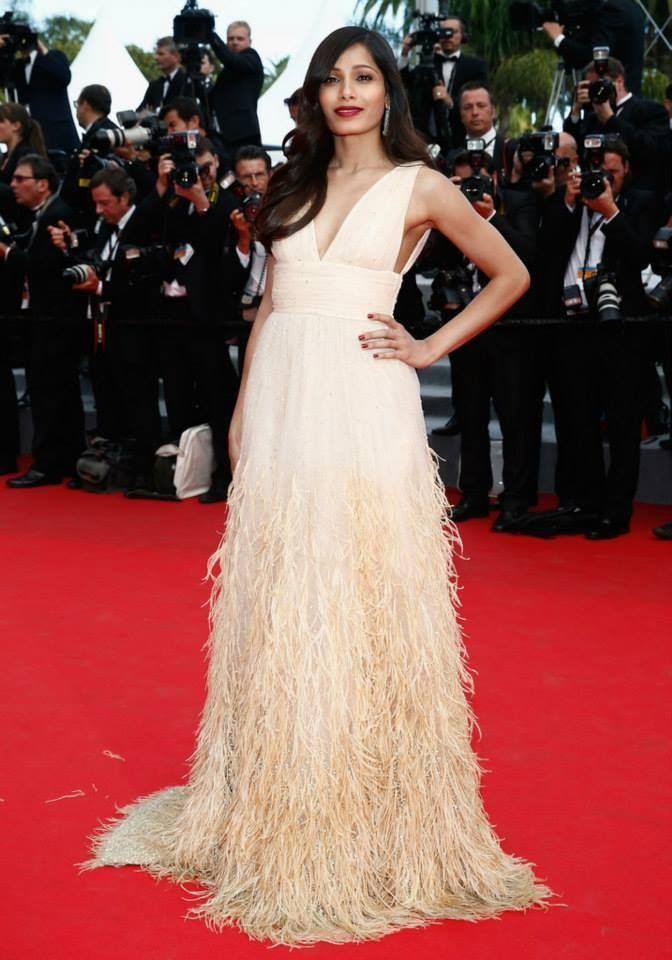 Gorgeous Freida Pinto On Red Carpet At The 67th Cannes International Film Festival To Attend The Premiere Of Saint Laurent