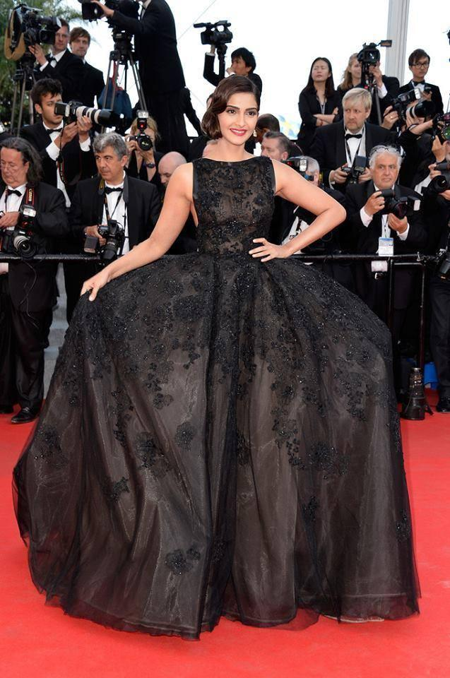 Bollywood Actress Sonam In A Voluminous Black Elie Saab Couture Gown At The 67th Cannes Film Festival