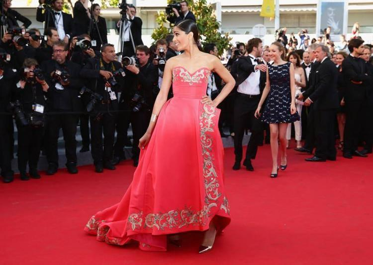 Freida Pinto In Oscar de la Renta At The 67th Cannes Film Festival 2014