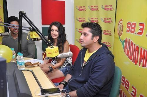 Director Mohit With His Stars Sidharth And Shraddha At Radio Mirchi To Promote Ek Villain