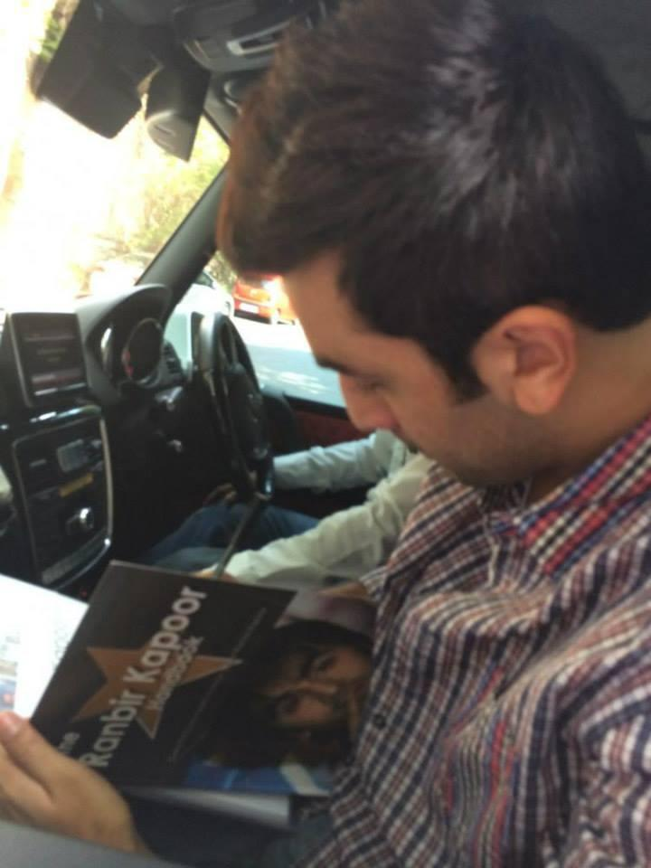 Ranbir Is Seen Signing A Book On Himself, Dedicated To Him By A Fan