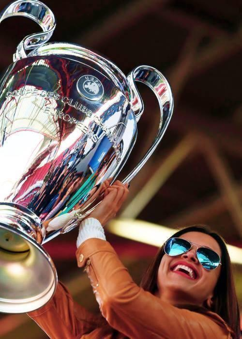 Deepika With The Champions League Cup At The UEFA Champions League Final Match