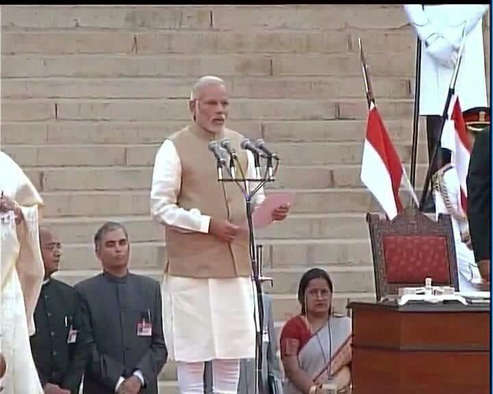 Newly-Appointed Prime Minister Narendra Modi At His Swearing-In Ceremony At The Rashtrapati Bhawan In New Delhi