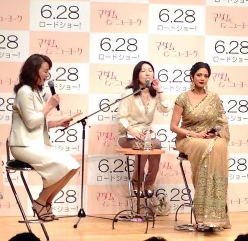 Sridevi Kapoor  Listing Japanese Singer Agnes Chan At English Vinglish Premiere In Tokyo