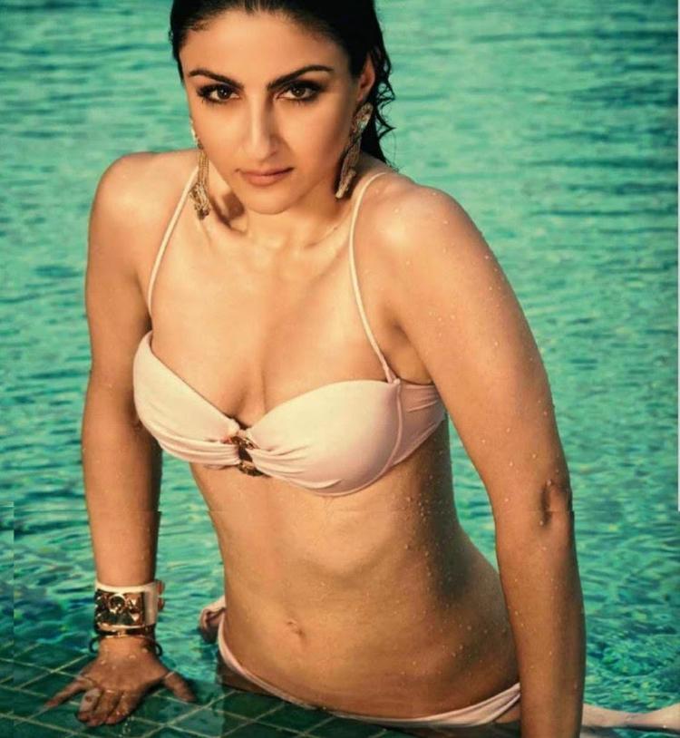 Soha Ali Khan Pose In Swimming Pool With Hot Bikini And Slim Glamour Body For Maxim June Issue