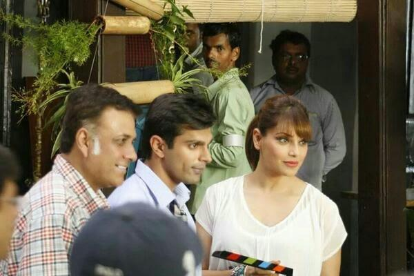 Bipasha And Karan With Director Bhushan Patel At Alone Movie Launch Event