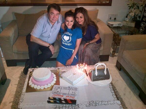Lilette And Randhir And Ameesha Pose For Camera On The Sets Of Desi Masic