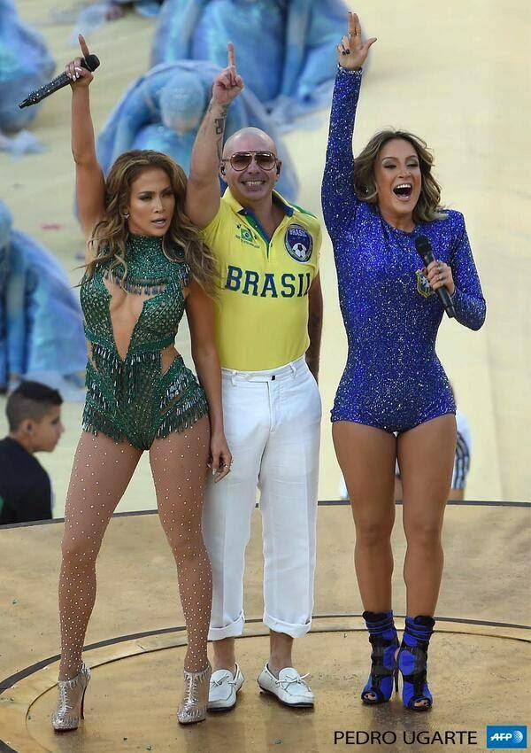 Jennifer,Claudia Leitte And Pitbull Perform The Official FIFA World Cup Song At The Brazil 2014 Opening Ceremony