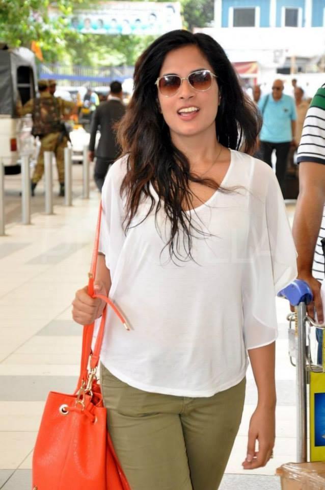 Richa Chadda Looks Stunning In White Top And Green Pants At Mumbai Airport