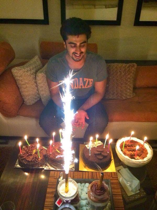 Arjun Kapoor Smiling With His Birthday Cakes