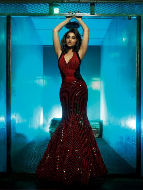 Parineeti Chopra Seen Steaming The Temperature Wearing an Amit Aggarwal Dark Red Gown