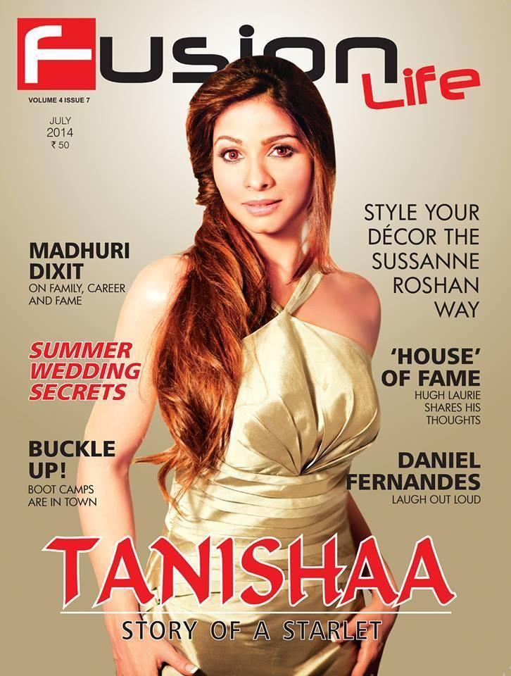 Tanisha Mukherjee Stunning Beautiful Look On Fusion Life Cover July 2014 Issue