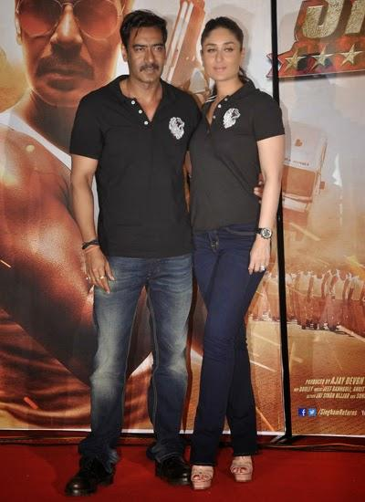 Ajay Devgan And Kareena Kapoor Posed For Camera During The Trailer Launch Of Singham Returns