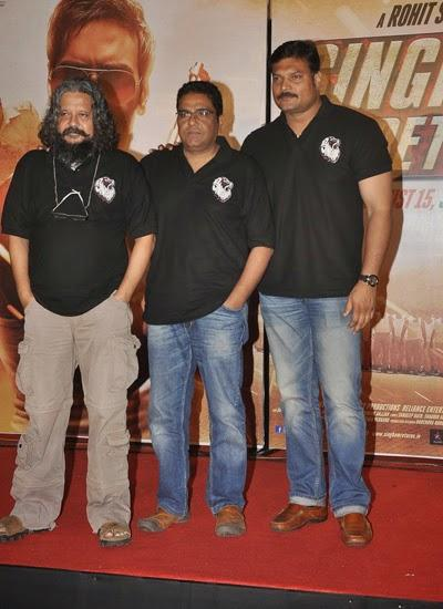 Amole Gupte And Daya Shetty Posed For Camera At The Trailer Launch Of Singham Returns
