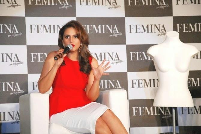 Huma Qureshi Addresses The Media At The Launch Of New Femina 2014 Issue Event