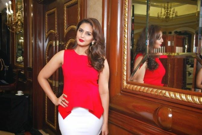 Huma Qureshi In Red Dress Hot Look At The Launch Of New Femina 2014 Issue Event