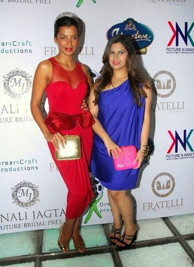 Mugdha Godse And Manali Jagtap Posed For Camera At The Launch Of Manali Jagtaps Bag Collection Clutch Closet