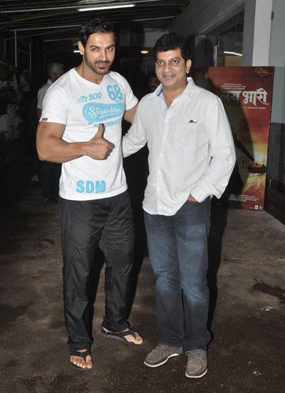 John Abraham Cool Pose For Camera At Mumbai For Watching Ritesh Lai Bhaari Movie